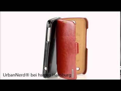 """UrbanNerd® """"Berlin"""" Side Open Ledertasche Samsung S4 Schutzhülle Handytasche Tasche Cover"""