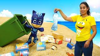 Spielzeug Video für Kinder auf Deutsch. Catboy und seine Freunde am Strand. Was ist Recycling?