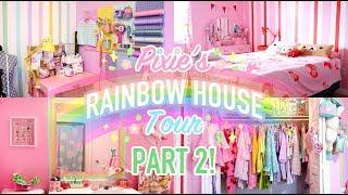 RAINBOW DREAM HOUSE TOUR: PART 2!! 🌈🎨 Home Office, Bedroom + Bathroom!