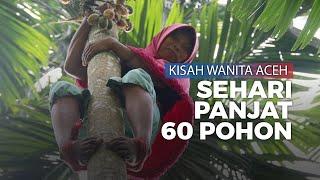 Kisah Wanita Aceh, Hidupi Keluarga dengan Memanjat Pohon Pinang
