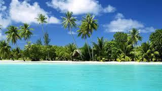 Картинка природа. Тропический остров, рай, белый песок, пляж в тропиках, пальмы.