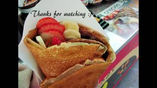 South Korean Street Food: Crepe (Banana Strawberry & Blueberry Crepe)