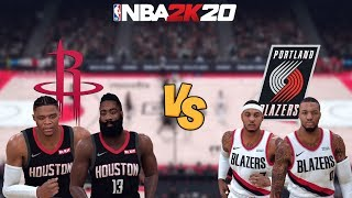 NBA 2K20 - Houston Rockets vs. Portland Trail Blazers (MELO!) - Full Gameplay (Updated Rosters)