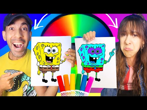 3 MARKER CHALLENGE Sis Vs Bro MYSTERY WHEEL With Super Powers! (Spongebob And Mystery Men!)