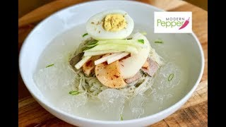 Classic Korean Summer Cold Noodle Dish: Mul NaengMyeon 물냉면- Modern Pepper Video #29