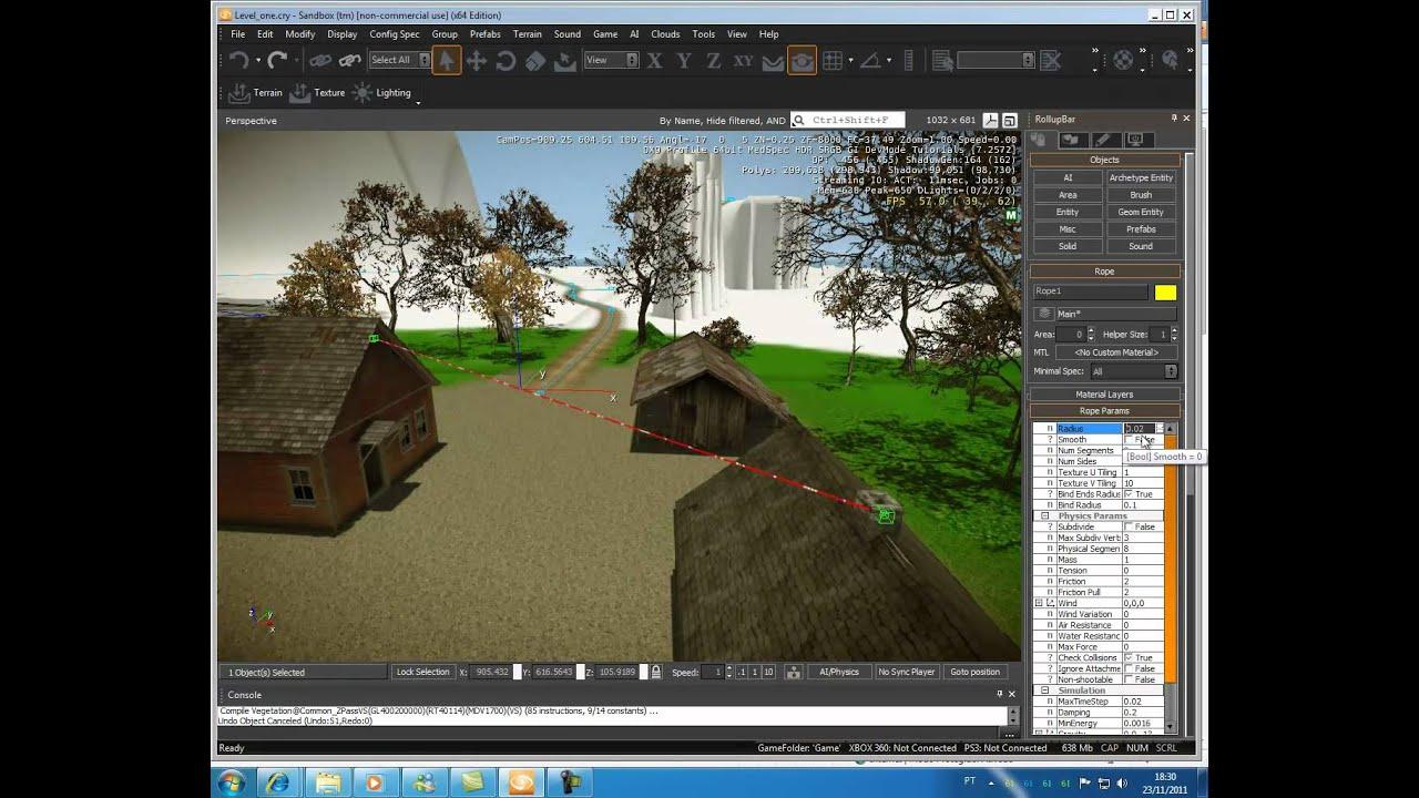 Tutorial do CryEngine 3 - Objetos (misc) - parte 9: Criando cordas e algumas informações (jam3D)