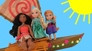 MOANA meets queen ELSA !  Anna & Elsa toddlers SAIL on Moana