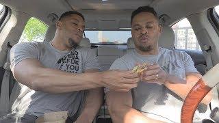 Eating Mc Donalds Garlic White Cheddar Burger @hodgetwins - Video Youtube