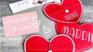 Easy And Inexpensive SEMI-DIY Valentines Day EASY Personalized Felt Heart Envelopes!
