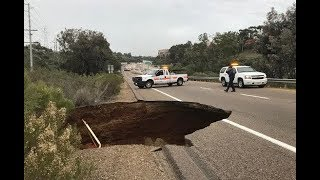 Huge sinkhole shuts down NB I-805 Kearny Villa Road off-ramp