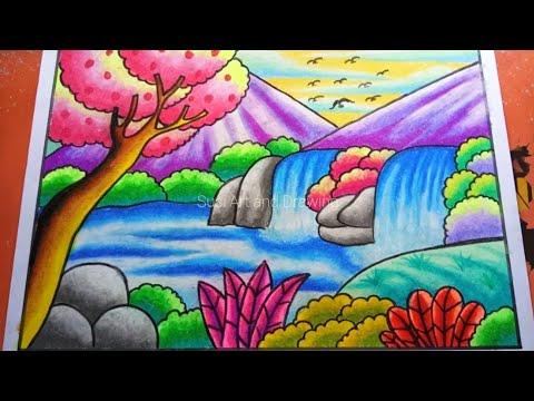 Mewarnai Gambar Gunung Dengan Crayon Warna Warni Gambar