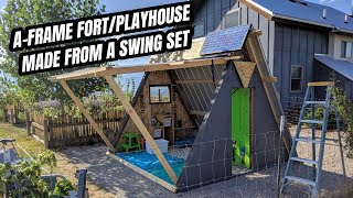 A-frame playhouse, made from a swingset.