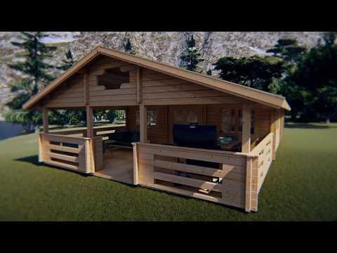 Zwei Schlafzimmer Ferienhaus Holiday F 50m2 / 7 x 12 m / 70mm