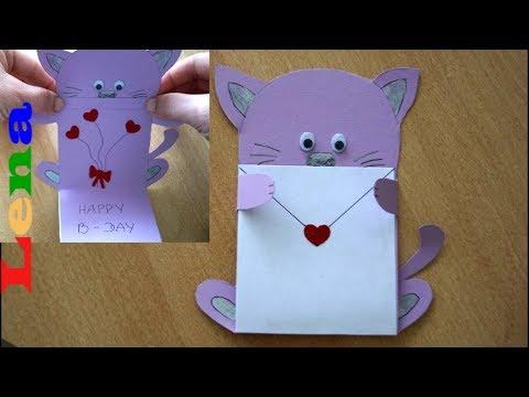 Kreative Kids mit Lena - Geburtstagskarte basteln für Kinder - Katzen Faltkarte - Cat birthday card
