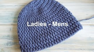 (crochet) How To - Crochet A Simple Beanie For Ladies - Mens Size (22-24)