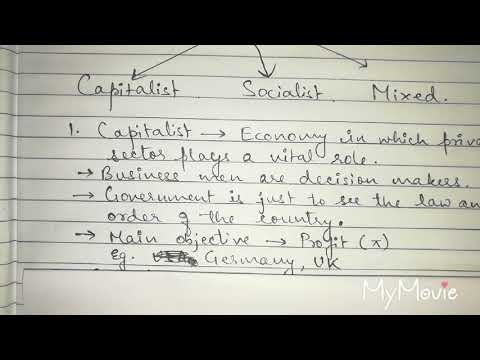 Economy it's types: Capitalist Socialist and Mixed Economy for class XI 2019-20 & others