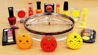 Red vs Yellow vs Orange - Mixing Makeup Eyeshadow into Slime!  Relaxing and Satisfying Slime Video