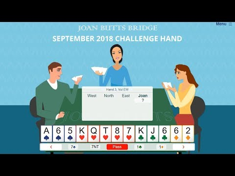 September 2018 Challenge Hand – Learn To Play Bridge With Joan Butts