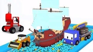 пиратский корабль - учимся вместе с малышами грузовичками в парке аттракционов