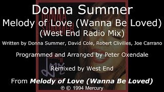 "Donna Summer - Melody of Love (West End 7"" Radio Mix) LYRICS - SHM ""Melody of Love"" 1994"