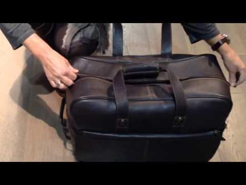 Bolsa trolley de viaje en piel marrón - Solohombre