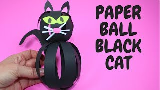 Paper Ball Black Cat | Halloween Craft For Kids