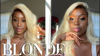 AFFORDABLE Platinum Blonde 613 Lacefrontal Wig || How To Get Ash Brown Roots Ft Cranberry Hair