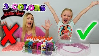 3 Colors of Glue Slime Challenge w/ My Mom! Special Glow in the Dark Glitter Slime!
