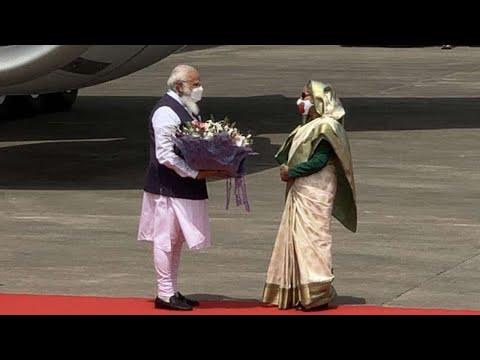 Sheikh Hasina welcomes PM Narendra Modi at Dhaka airport in Bangladesh