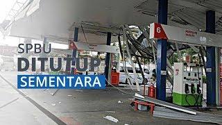 Setelah Diterjang Puting Beliung, SPBU Ngampin Ambarawa Tutup Sementara