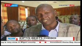 Baringo Gubernatorial Jubilee Nominee Stanley Kiptis gives thanks to his supporters for win