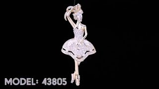 Adorable White American Diamond Brooch | Violet & Purple