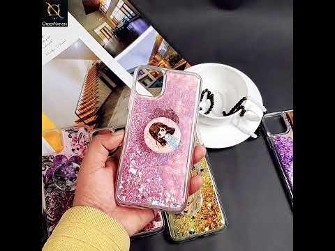 Realme 6i Cover - Design 48 - New Elegant Liquid Glitter Soft Borders Case With Pop Socket Holder