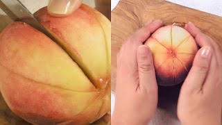 レシピ簡単にできる桃のむき方&切り方 Theeasywayofpeelingandcuttingpeaches.