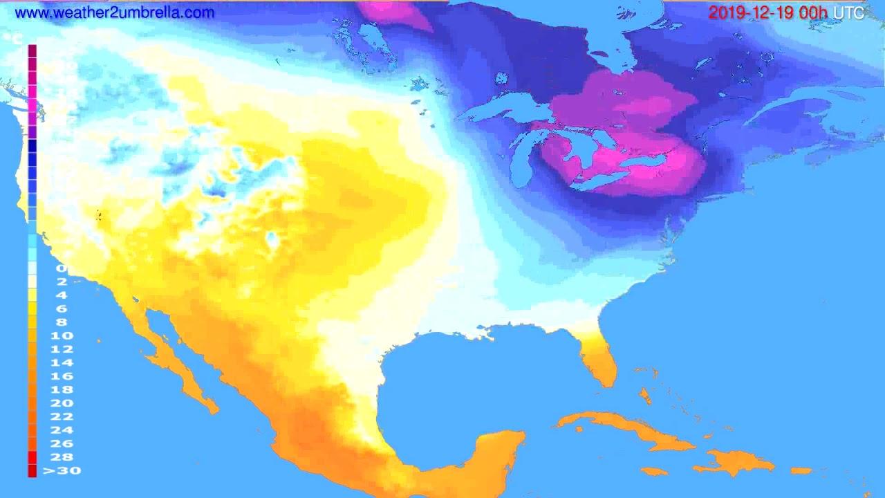Temperature forecast USA & Canada // modelrun: 00h UTC 2019-12-18