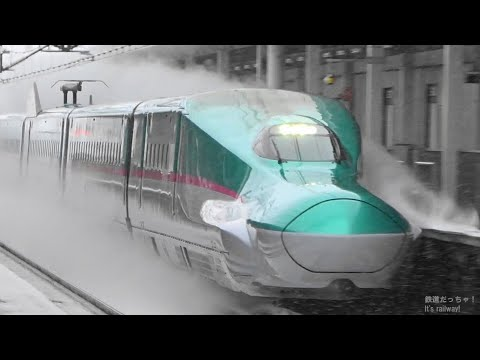 Bullet Trains Racing Through the Snow
