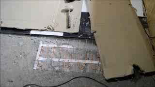 Ремонт в бане день 236, теплый пол под плитку лежаки в сауне