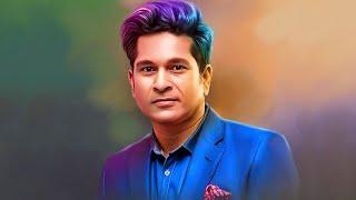 Sachin Tendulkar  Colourful Smudge Painting Tutorial
