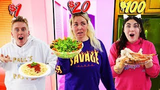 SURVIVING 24 HOURS ON A FOOD BUDGET! $1 vs $500 budget!