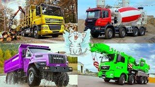 Изучаем цвета и строительный транспорт. Развивающее видео про машинки для детей