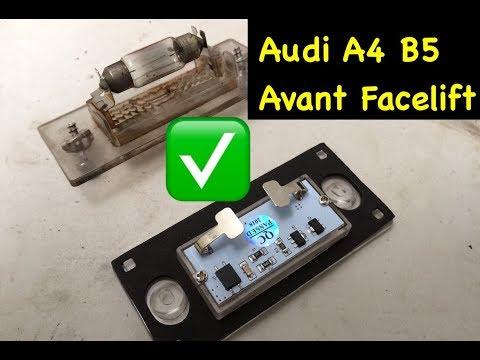 LED Kennzeichenbeleuchtung beim Audi A4 B5 Avant Facelift mit E-Prüfzeichen (legal)