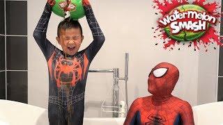 Spider Man Watermelon SMASH Challenge Kids Fun Games With CKN Toys