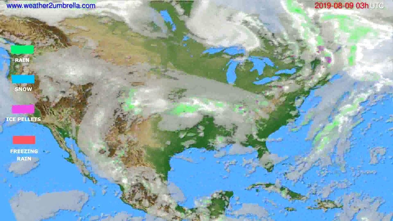 Precipitation forecast USA & Canada // modelrun: 00h UTC 2019-08-06