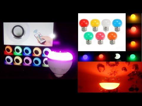 E27 9W LED RGB Bluetooth Speaker LED Bulb, E27 1W LED Bulbs - Unboxing & Hands-On