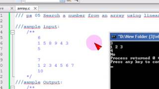 Download Youtube: Bangla C programming tutorial  46  ps 05 Search a number from an array using linear search