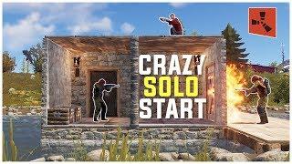 Rust - My CRAZIEST SOLO START Ever (Solo Base Defense & More)