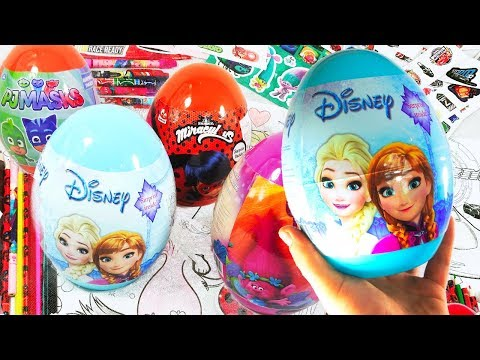 Super Giant Eggs Disney Pixar Frozen Trolls PJMASKS Cars Miracul Us Surprise Eggs By TheSurpriseEggs