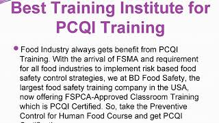 Best Training Institute for PCQI Training