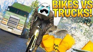 BIKES VS TRUCKS - GTA 5 ONLINE FUNNY MOMENTS
