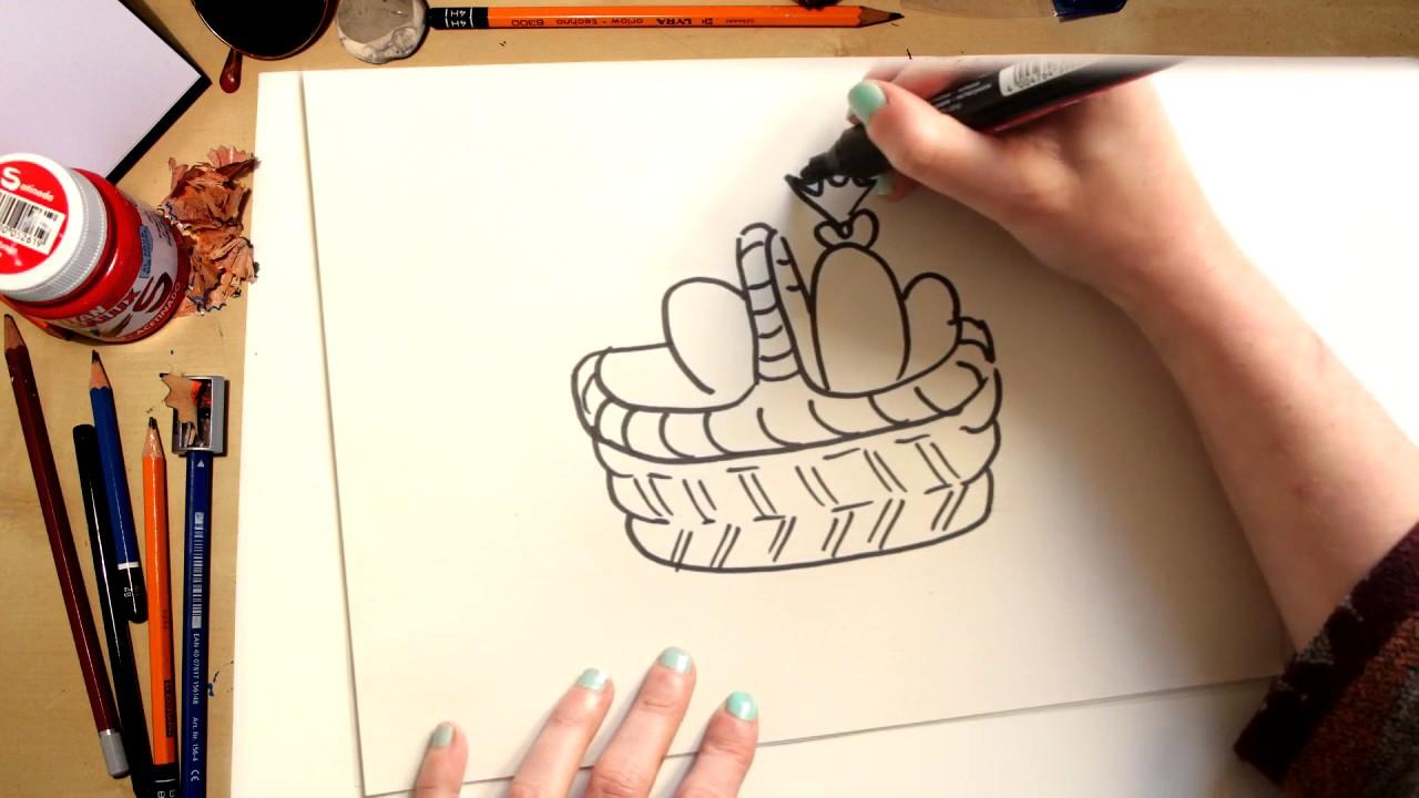 ????⚡Como dibujar una cesta de Pascua fácil (comentado)